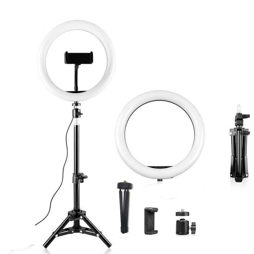 Лампа кольцевая для фото напольная (черная)