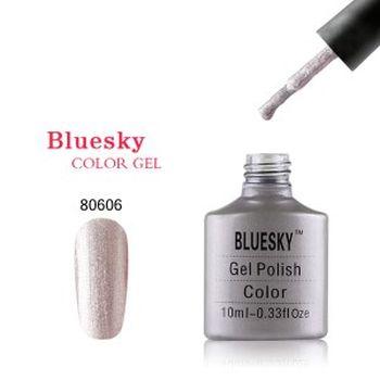 Гель лак Bluesky 80606-серебряно-серый перламутровый микроблестками